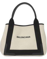 "Balenciaga Borsa Piccola ""navy Cabas"" In Tela Di Cotone - Multicolore"