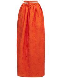 Christopher Esber Langer Rock Aus Nylonmischjacquard - Orange