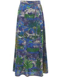 Le Sirenuse Camille コットンマキシスカート - ブルー