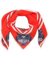 KENZO - Tiger Print Cotton & Silk Square Scarf - Lyst