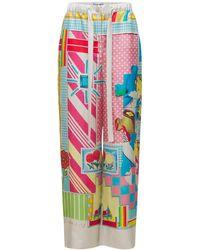 Loewe Брюки Из Шелковой Саржи С Принтом - Многоцветный