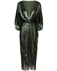Costarellos Lurex Velvet & Lace V Neck Midi Dress - Verde