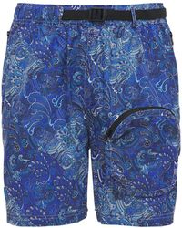 LC23 Paisley Printed Techno Shorts - Blue