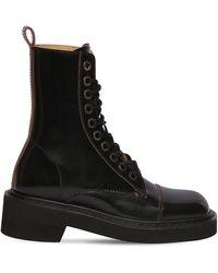 Maison Margiela Кожаные Ботинки На Шнуровке 40мм - Черный