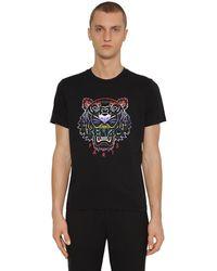 KENZO T-shirt Aus Baumwolljersey Mit Icon-druck - Schwarz