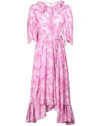 Balenciaga Платье Из Атласа С Принтом - Розовый
