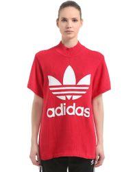 adidas Originals - Oversized Logo Print Heavy Knit T-shirt - Lyst