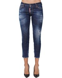 "DSquared² Jean Court En Denim ""Jennifer"" - Bleu"
