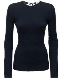 Victoria Beckham Wool Knit Top W/open Back - Blue
