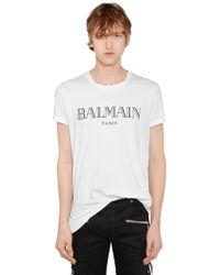 Balmain - Logo Printed Cotton Jersey T-shirt - Lyst