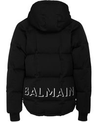 Balmain Logo Print Hooded Nylon Down Jacket - Black