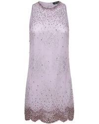 Blumarine Embellished Sleveless Midi Dress - Purple