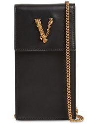 Versace Virtus Leather Phone Holder W/ Chain - Black
