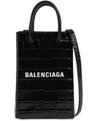 Balenciaga - Shopping エンボスレザースマートフォンホルダーバッグ - Lyst