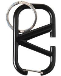 Valentino Garavani V Logo Metal Key Holder - Black