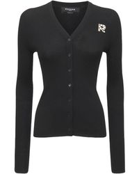 Rochas Logo Wool Rib Knit Cardigan - Black