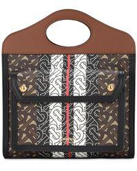 Burberry Tasche Aus Canvas Mit Minitasche - Braun