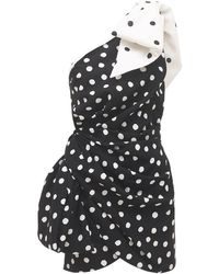 Saint Laurent Платье Из Вискозы С Принтом - Черный