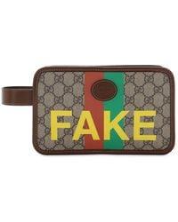 Gucci Gg Supreme Fake Not トイレタリーバッグ - ナチュラル