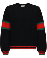 Gucci Wool Cable Knit Sweater W/web Detail - Black