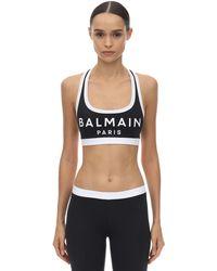 Balmain Logo Stretch Jersey Sports Bra Top - Black