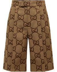 Gucci Jumbo Gg キャンバスハーフパンツ - ナチュラル