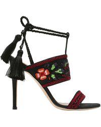 Alberta Ferretti - 110mm Embroidered Satin Sandals - Lyst