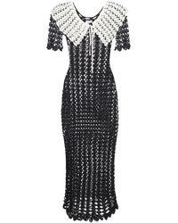 Patou Vestido Midi De Punto Crochet De Viscosa - Negro