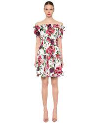 Dolce & Gabbana - Off The Shoulder Floral Poplin Dress - Lyst