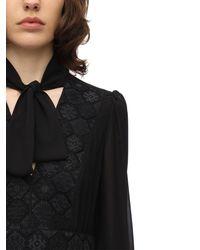 Giamba レースシフォン ロングドレス - ブラック
