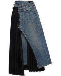 Junya Watanabe Denim & Pleated Wool Blend Skirt - Черный