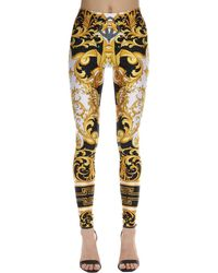 Versace Printed Stretch Jersey Leggings - Yellow