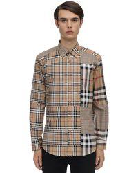 Burberry Camisa De Algodón Patchwork A Cuadros - Neutro