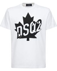 DSquared² - T-shirt In Jersey Di Cotone Con Stampa - Lyst