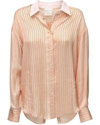 Forte Forte Атласная Рубашка В Полоску С Открытой Спинкой - Розовый