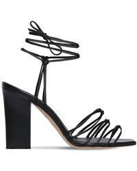 Aeyde 95mm Daisy Leather Sandals - Black