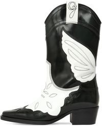 Ganni High Texas Boots In Black And White Patent Calfskin