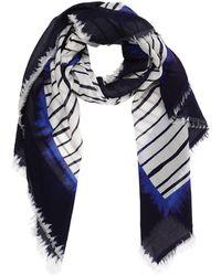 Faliero Sarti Écharpe En Coton À Rayures - Bleu