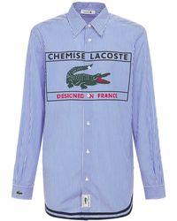 Lacoste ロングコットンシャツ - ブルー