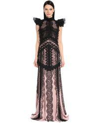Antonio Berardi Embroidered Chiffon & Envers Satin Gown - Black