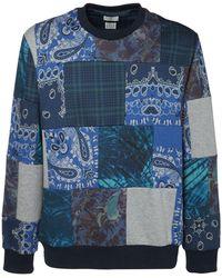 Etro Sweatshirt Aus Upcycled-jersey Mit Patchwork - Blau