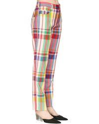 Area Check Rainbow Plaid Wool Trousers - Multicolour