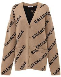 Balenciaga Кардиган Из Шерстяного Трикотажа С Логотипом - Естественный