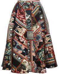 Brock Collection パッチワークaラインスカート - マルチカラー