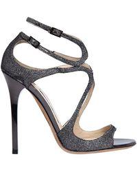 Jimmy Choo - 115mm Lance Glitter Fabric Sandals - Lyst