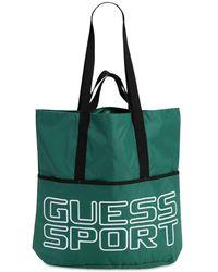 GUESS SPORT Logo Printed Nylon Tote Bag - Grün