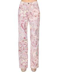 Etro Printed Denim High Waist Boyfriend Jeans - Pink
