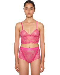 Off-White c/o Virgil Abloh Logo Underwire Lace Lingerie Ensemble - Purple