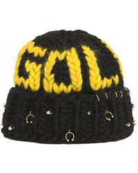 Maria Francesca Pepe - Gold Wool Knit Beanie With Piercings - Lyst