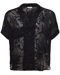Saint Laurent Рубашка Из Вискозы И Шелка - Черный